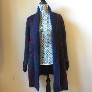 Marks and Spencer mohair blend open front sweater with pockets/shoulder pads